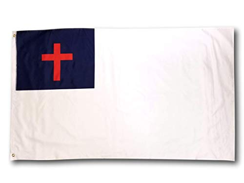 High Supply 3x5 Christian Flag with Two Brass Grommets, Double Stitched Edges, and 100% Polyester Fabric, 3x5 Foot Church Flag, Christianity Flag with Cross, 3x5 Christian Flag, 3x5 Church Flag