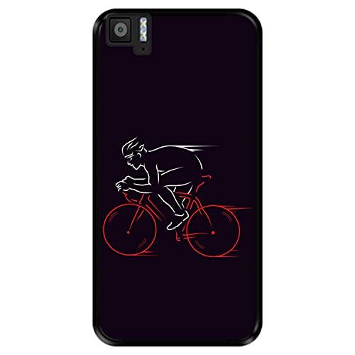 Hapdey Funda Negra para [ Bq Aquaris M5 ] diseño [ Atleta, Ciclista en Bicicleta ] Carcasa Silicona Flexible TPU