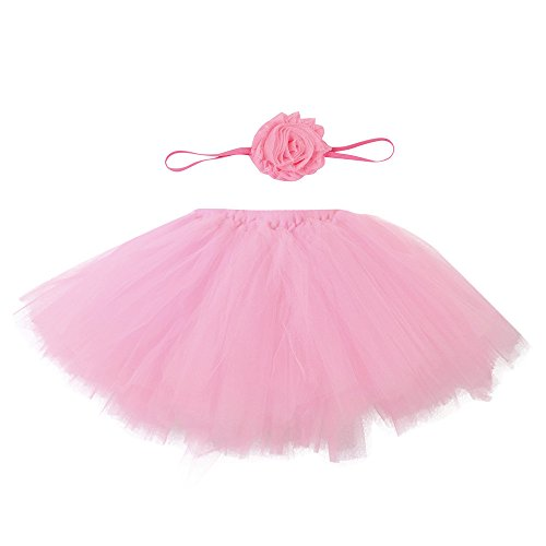 TinaDeer Fotos Fotografie Prop Neugeborenes Baby Mädchen Kostüm Kleidung Süßer Prinzessin Kleid Tütü Rock mit Blumen Stirnband für 0-4 Monate Baby (C, One Size)