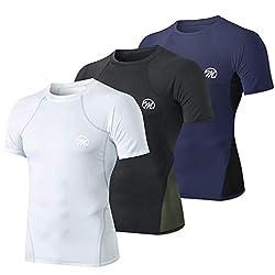 MEETWEE Kompressionsshirt Herren, Sportshirt Laufshirt Kurzarm Funktionsshirt Atmungsaktiv Kurzarmshirt Sports Shirt Trainingsshirt fürMänner