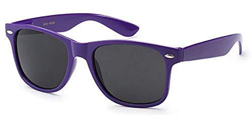 Boolavard® Nerd Sonnenbrille im Wayfarer Stil Retro Vintage Unisex Brille - 45 Modelle wählbar (Dunkelviolett Tönung)