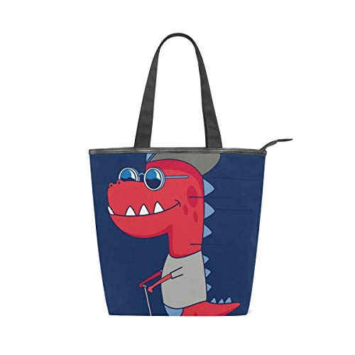 Fashion Red Dinosaur Skate Canvas Tote Bag for Women, High-capacity Canvas Handbag Shoulder Bag for Travel, School, Work, Shopping