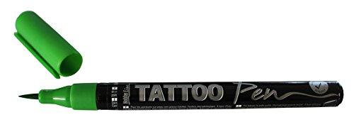 Kreul 62103 - Tattoo Pen grün, Strichstärke 0,5 - 3 mm, Kosmetiktinte auf Wasserbasis, hält bis zu 5 Tage, dermatologisch getestet, vegan, parabenfrei