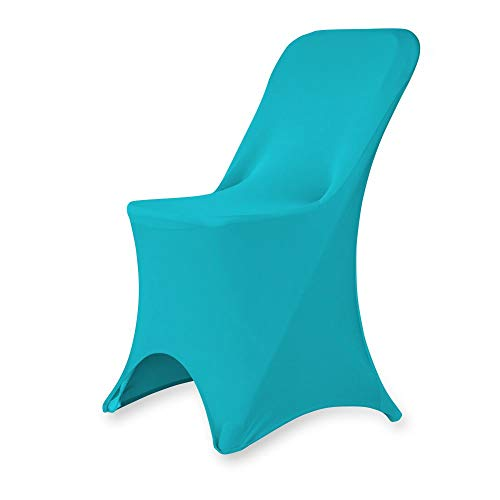 Set of 1/10/50Pcs Hotel Fitted Folding Dining Spandex Stretch Chair Covers - Wedding Reception Banquet Party Restaurant, 17 Colors! (10, Turquoise)