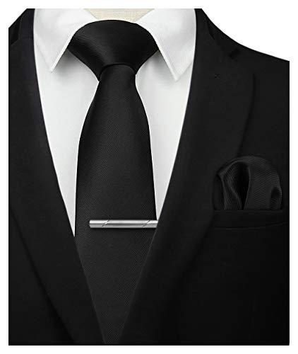 HISDERN Set di fazzoletti da uomo classici in fazzoletto da cravatta nero solido con cravatta e set quadrato