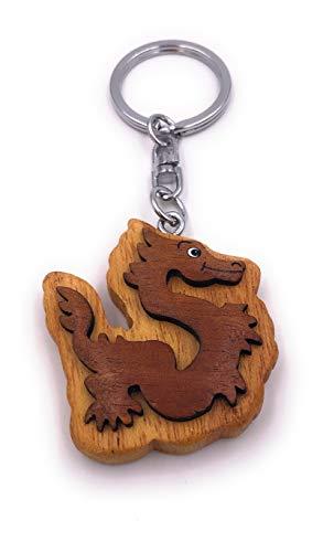 H-Customs Drachen Fabel Märchen Tier Echt Holz Edel Handmade Schlüsselanhänger Anhänger