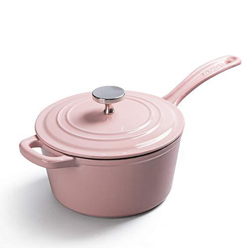 Cacerola De Hierro Fundido Esmalte Sartén Con Tapa Cocina De Inducción Gas Universal,Pink