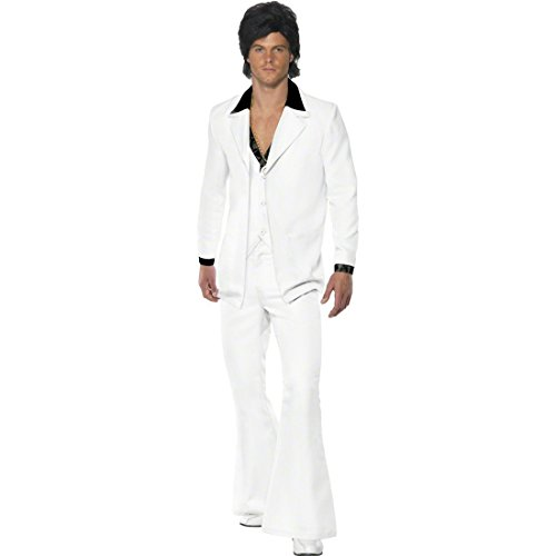 NET TOYS 70er 80er Jahre Outfit Saturday Night Fever Kostüm Weiß XL 56/58 Star Kostüm John Travolta Kostüm Disco Anzug
