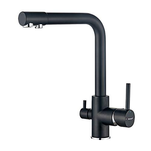 Ibergrif M22109B - grifo de cocina monomando con purificador de agua y 3 vías para ósmosis, color negro