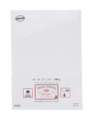 Crown Mill A4 Papier Weiss 50 Blatt Verge-gerippt mit Wasserzeichen