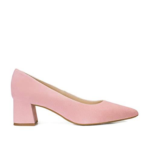 Trivia - Salones Elegantes de Vestir para Mujer en Piel con Punta Fina - Tacon Bajo Ancho 5 cm - Hechos en España - Moda Zapatos Tacones Casual - Piel