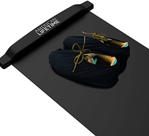 American Lifetime Slide Board, Workout Board for Fitness Training and Therapy with Shoe Booties and Carrying Bag Included, Black, 7.5 Feet