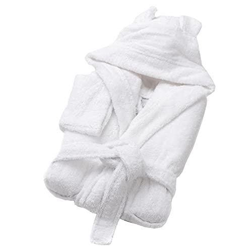SOHYGGE - Albornoz infantil de 450 gr/m2, para niño y niña, 100% algodón esponja, ecológico OEKO-TEX – Albornoz infantil con capucha – salida de baño infantil, blanco, 1-2 Years