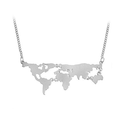 MANZHEN Moda Oro Plata Negro Mapa del Mundo Colgante Collar Mundo continentes Collar Personalidad Regalo