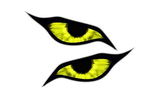 Groot paar gele demonen boze ogen ogen ontwerp voor motorhelm drone etc. Externe Vinyl Auto Sticker Decal 140x60mm Elk