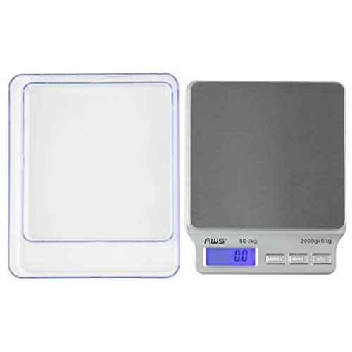 SC Series Precision Digital Kitchen Weight Scale, Food Measuring Scale, 2kg x 0.1g (Silver), AMW-SC-2KG