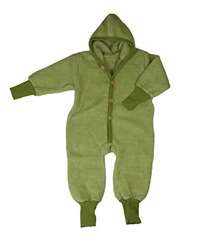 Cosilana Baby Kinder Fleece Overall mit Bündchen am Armen und Füßen, 60% Wolle (kbT), 40% Baumwolle (KBA) (86-92, Lindgrün-Melange)