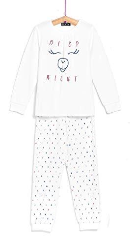 TEX - Pijama Largo de Algodón para Niña, 2 Piezas, Crudo, 2 a 3 años