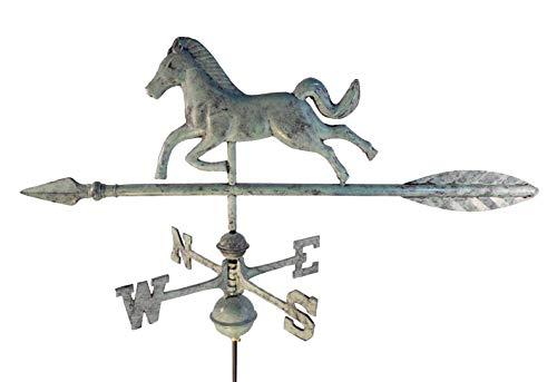 Dalvento 201V Wetterfahne für Pferde, Aluminium, mit traditionellen Richtungen und Kugeln, klein, Blau/Grün
