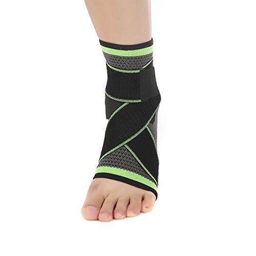 Tobillera para esguince elastica ajustable estabilizadora y de compresión para hombre y mujer. Protección del tobillo con bandas elásticas. Ideal para cualquier deporte, Running 1 par (Verde, L)