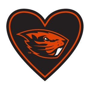 Oregon State Beavers Sticker Orange OSU Benny Beaver Heart Shaped Decal Apply Mug Phone Laptop Water Bottle Cooler Bumper Football Decal