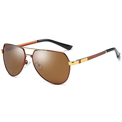 QCSMegy Gafas de sol para hombre de moda, material de metal salvaje, polarizadas, gafas de sol negro/azul/marrón para hombre (color: marrón)