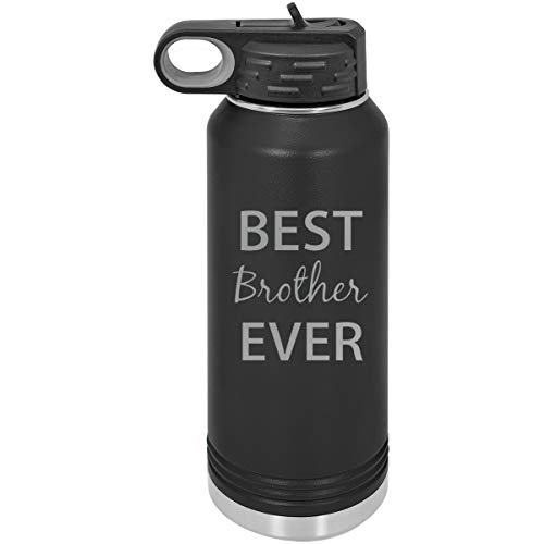 CustomGiftsNow Best Brother Ever Double Wall Insulated Stainless Steel Engraved Sports Water Bottle with Flip Top Lid, Straw