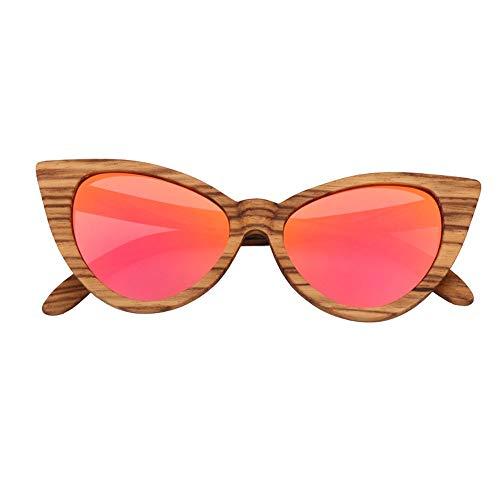 DKEE Gafas de Sol UV400 Rosa Ojos De Gato Amarillos Gafas De Sol for Mujer Zebra Gafas De Sol Polarizadas En Forma De Mariposa Gafas De Bambú (Color : Pink)