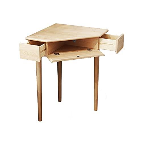 Mesa de Ordenador Escritorio Tabla de estudio del escritorio de la mesa de la esquina de la esquina robusta con la mesa del triángulo Top Escritorio de trabajo de roble compacto con 2 cajones pequeños