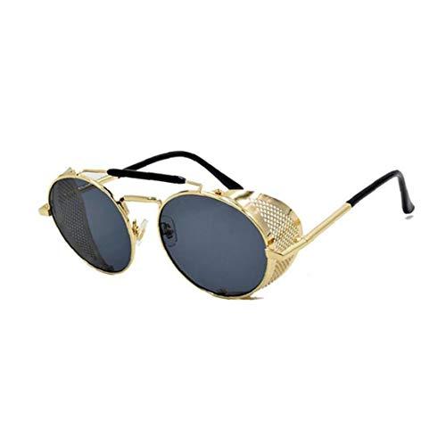 1PC Retro Occhiali da sole rotondi Steampunk Con Laterale leggera struttura in metallo di sport degli occhiali da sole occhiali da sole UV di protezione per uomo e donna (dorato)