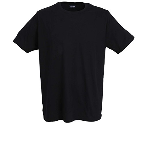 Ceceba Herren T-Shirt, Kurzarm, Baumwolle, Single Jersey, schwarz, Uni, 2er Pack 60