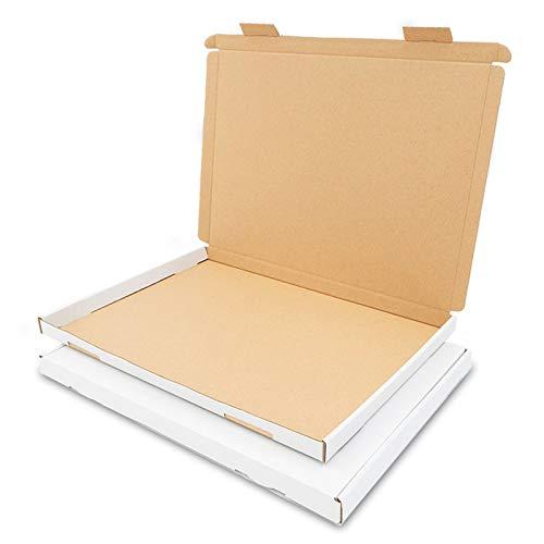 100 Großbriefkartons 350x250x20mm Weiss Versand Post Faltschachtel GB-2 DIN A4 / B4 für Briefsendung DHL DPD GLS H Päckchen, Versandkarton, Büchersendung