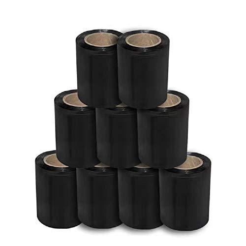 Mini Stretchfolie Wickelfolie Packfolie 10cm x 125m | 0.3KG | 9er Pack | Schwarz