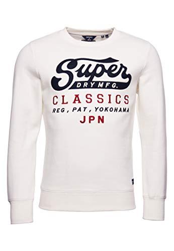Superdry Homme Sweat Classique Reworked avec Motifs appliqués Écru L