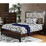 Find Bargain Carefree Home Furnishings Winnifred Contemporary Style Cherry Finish Cal King Size 6-Piece Bedroom Set
