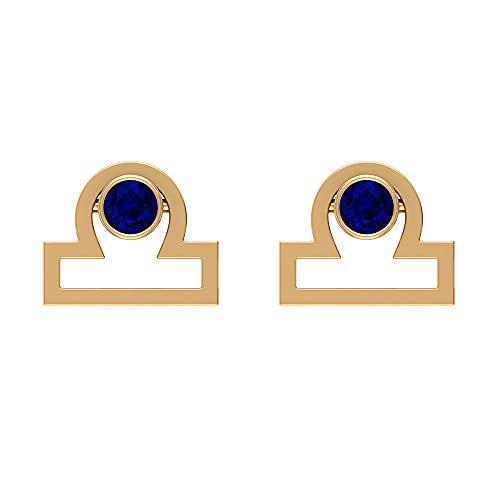 Pendientes de tuerca Libra Zodiac azul Zodiac de 1/3 CT (calidad AAA), rosca trasera azul
