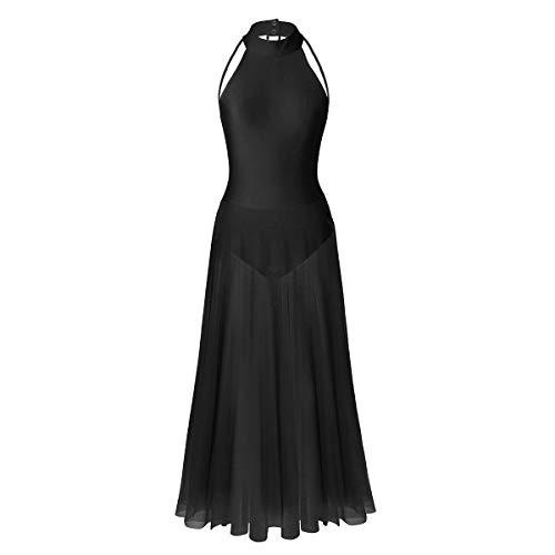 IEFIEL Vestido Largo de Danza Tango Latino Ballet Mujer Niña Traje de Bailarina de Ballet Fiesta Actuacion S-XXL Negro M