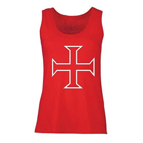 lepni.me Camisetas sin Mangas para Mujer Los Caballeros Templarios, Cruz Roja, Compañeros Pobres-Soldados de Cristo (XX-Large Rojo Multicolor)