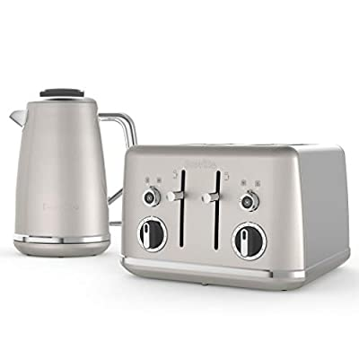 Breville Lustra Kettle & Toaster Set with 4 Slice Toaster & Electric Kettle (3kW Fast Boil), Shimmer Cream
