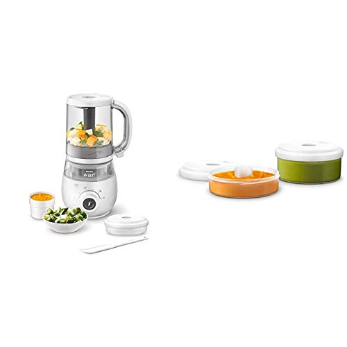 Philips Avent SCF883/01 EasyPappa Plus 4 in 1 Cuocipappa Multifunzione + Philips Avent SCF876/02 Accessori