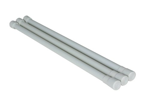 Camco 28' RV Refrigerator Bar, Holds Food and Drinks in Place During Travel, Prevents Messy Spills, Spring Loaded and Extends Between 16' and 28' - White (3 Pack) (44053)