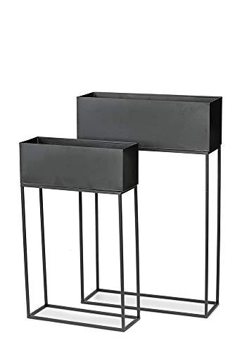 DISRAELI Set 2 Portavasi Design Rettangolare Rialzato in Ferro Nero 45x15xH69 cm