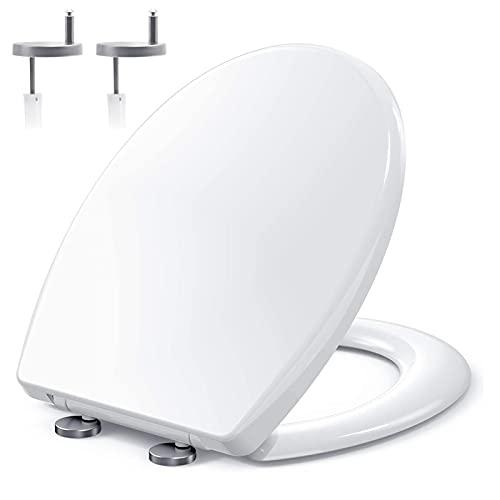 YADIMI Sedile WC Universale Bianco, Copriwater per Famiglia, Tavoletta WC con Paracolpi Antiscivoli, Coprivaso Tavoletta Chiusura Lenta, Sistema di Fissaggio Aggiustabile