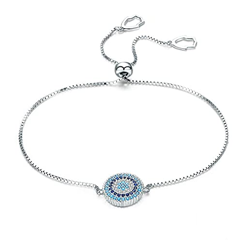 mimiliy Pulseras 925 Plata esterlina Azul Afortunado círculo Cadena Pulsera Femenino Moda joyería Regalo