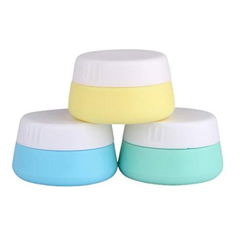 HEALLILY Lot de 3 pots de crème de voyage rechargeables avec couvercles pour cosmétiques et accessoires de voyage pour voyage, maison, extérieur (couleur mélangée, 20 ml)