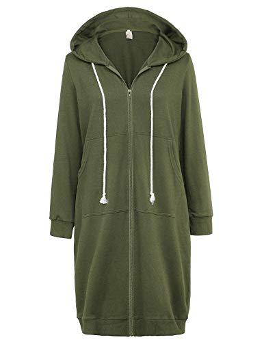 GRACE KARIN Women's Pocket Hoodies Tunic Sweatshirt Army Green Size L CL612-5