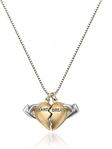 ZGYFJCH Co.,ltd Collar Mujer Collar Collar Amante Regalo Cobre Corazón Roto Adicto Collar Colgante Regalo para Mujer 2021 Moda Pareja Collar Joyería de Boda Regalo para Mujeres Hombres Regalos