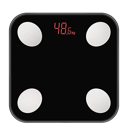XMH Báscula De Peso Digital, Pantalla Brillante, Báscula De Baño Digital De Alta Precisión, Mide con Precisión Un Peso De hasta 400 Libras,Negro