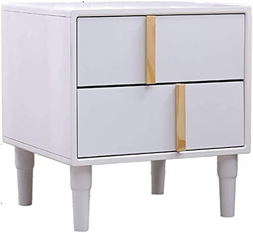 Bedside Table Mesa de café moderna de madera maciza mesita de noche de Televisión, cajones, mesas de almacenamiento, para sala de estar, dormitorio, mesa (color: blanco, tamaño: grande)