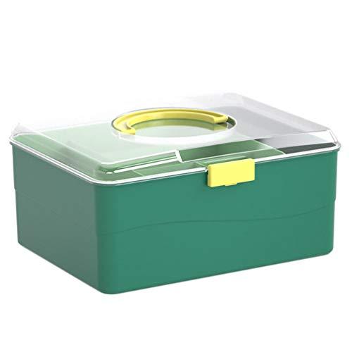 Cabilock Caixa de plástico de primeiros socorros para medicina familiar, recipiente transparente para armazenamento portátil de emergência para casa ao ar livre (verde)